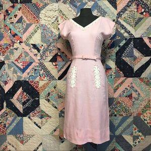 60s bubblegum pink wiggle dress with rhinestones